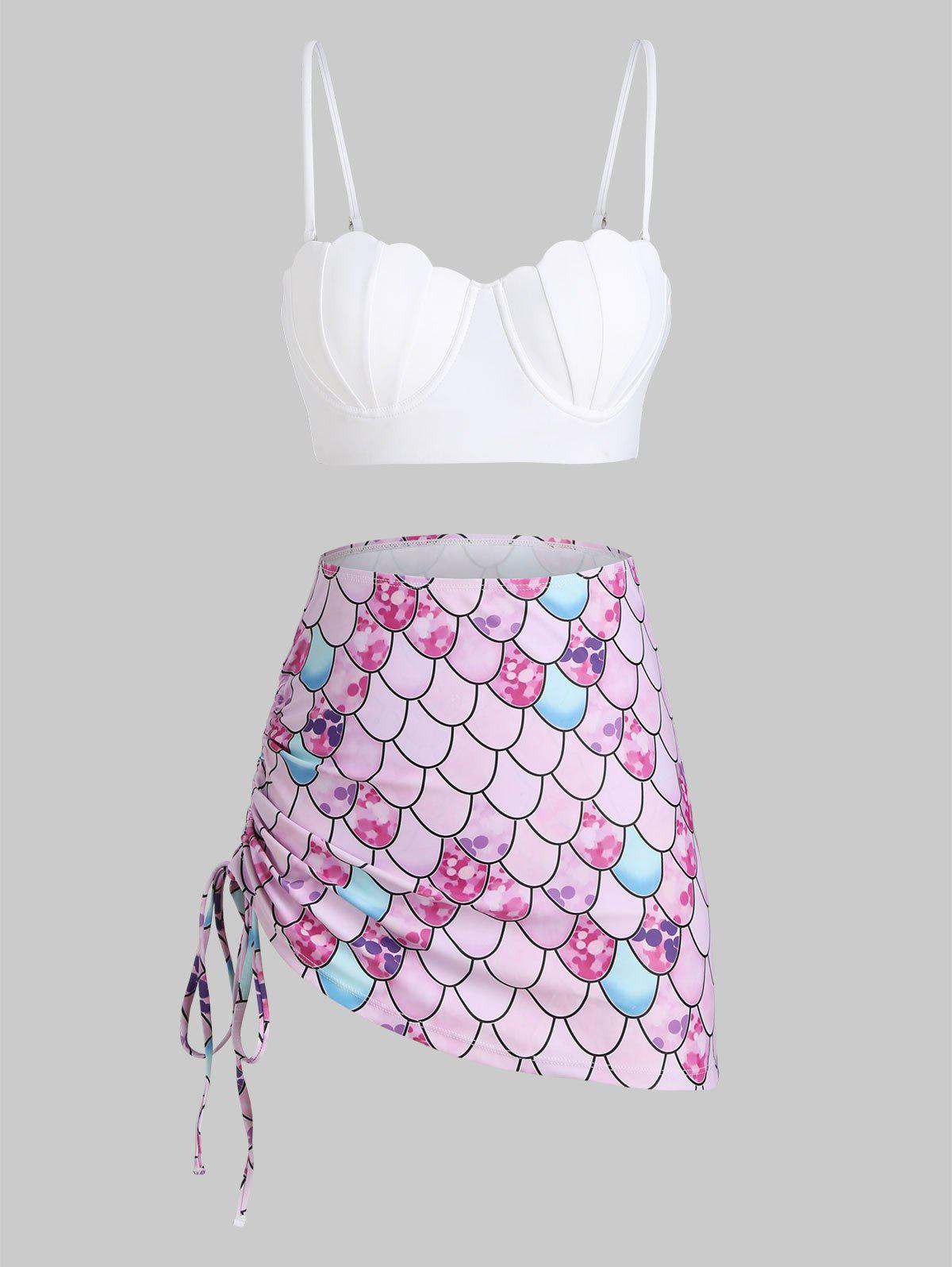 Lace-up Cinched Push Up Mermaid Three Piece Swimsuit - WHITE XL