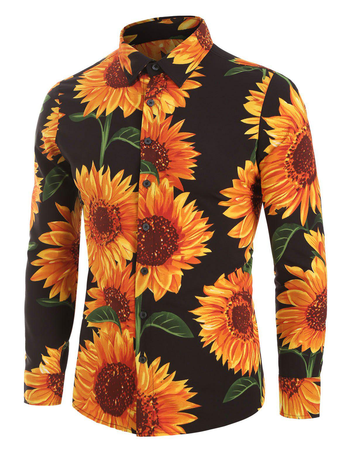 Sunflower Print Long Sleeve Button Up Shirt - BLACK 3XL