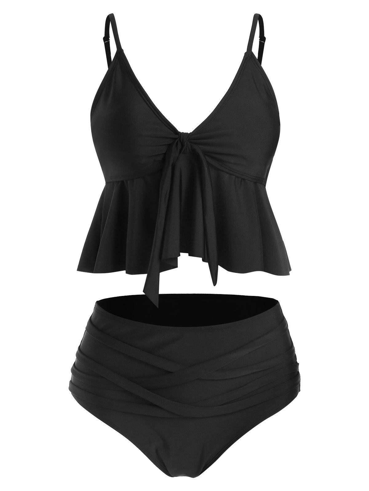 Knot Front Skirted High Waisted Tankini Swimwear - BLACK L