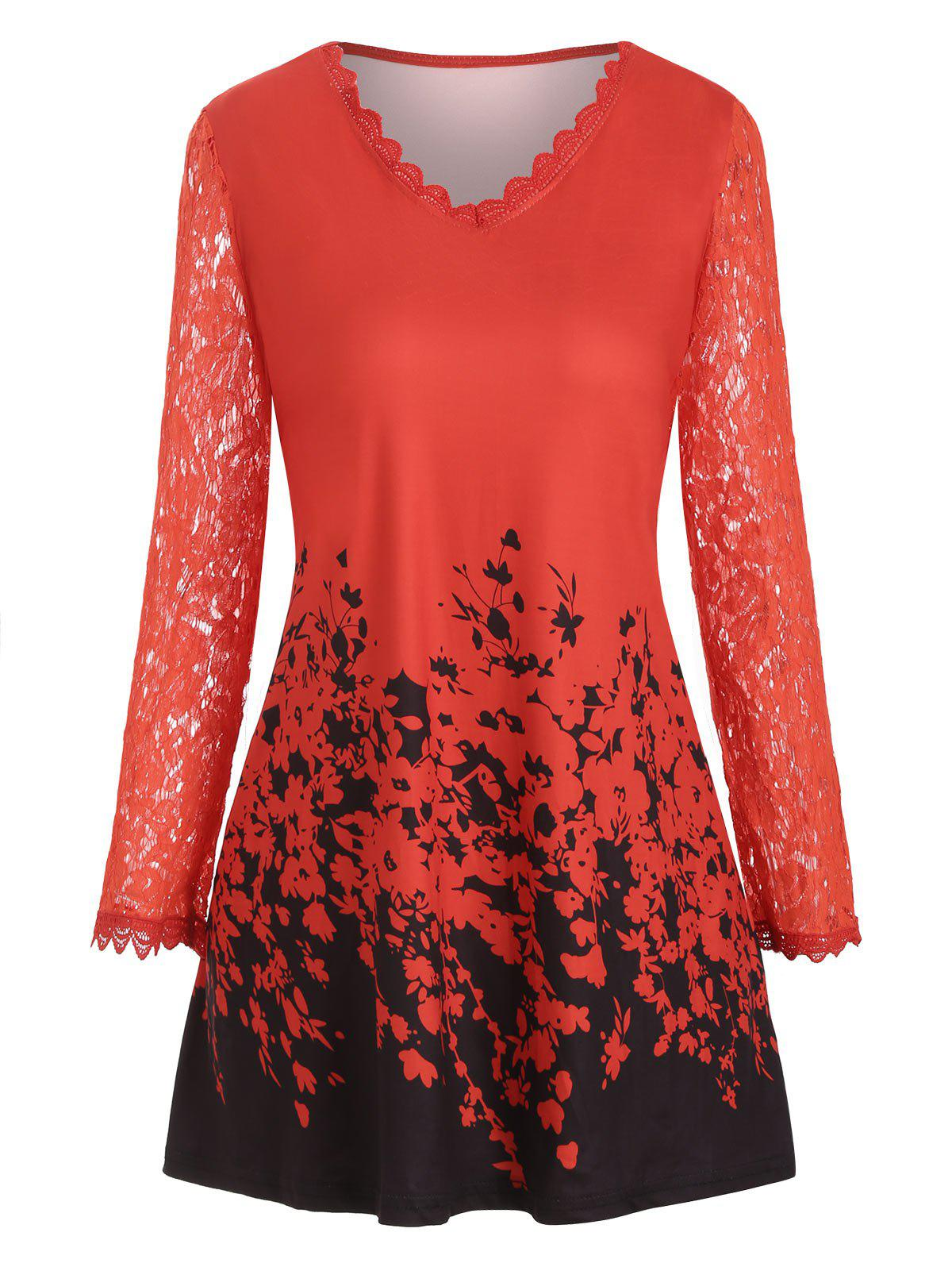 Plus Size Lace Sleeve Printed T Shirt - RED L