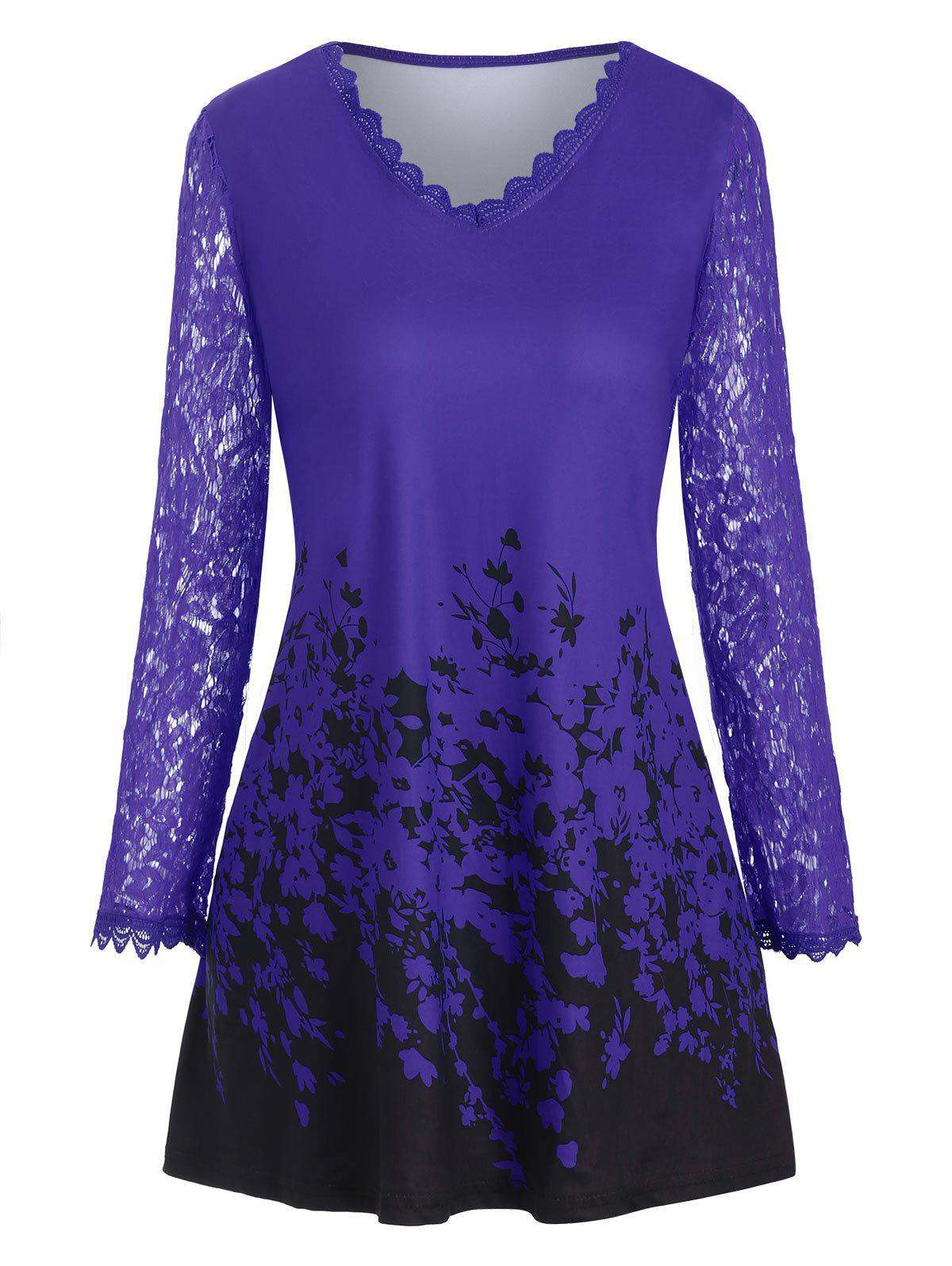 Plus Size Lace Sleeve Printed T Shirt - BLUE 1X