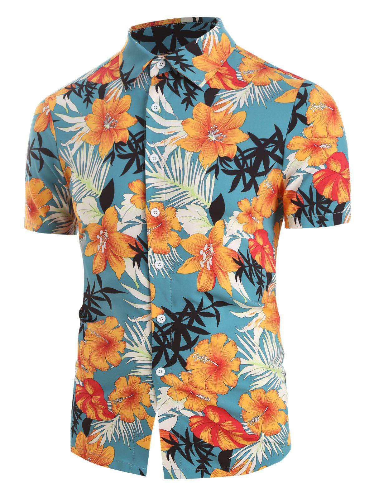 Tropical Flowers and Leaf Print Button Up Shirt - multicolor A 2XL