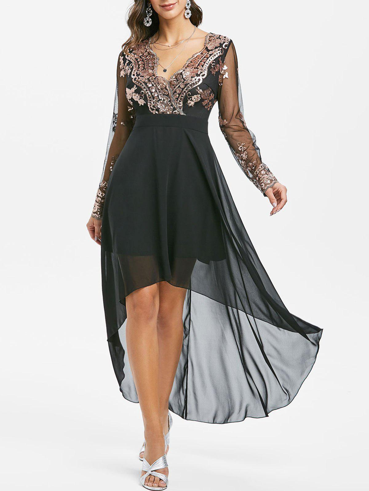 Sequined Mesh Panel High Low Chiffon Prom Dress - BLACK 2XL