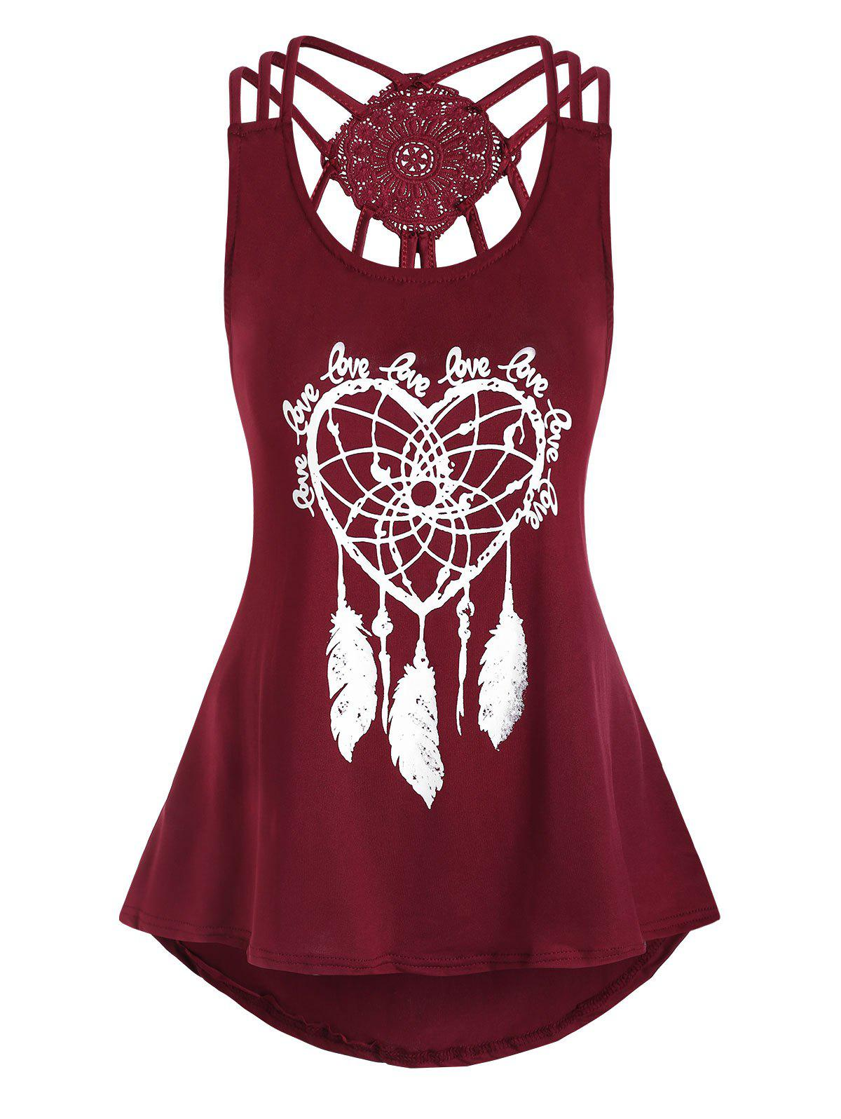Heart Feather Print High Low Tank Top - RED WINE L