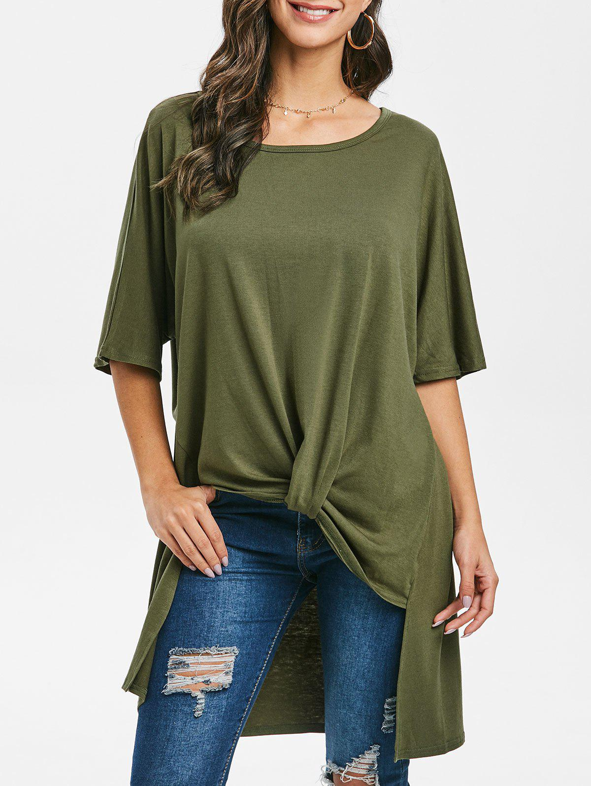 Batwing Sleeve Twisted High Low T-shirt - CAMOUFLAGE GREEN S