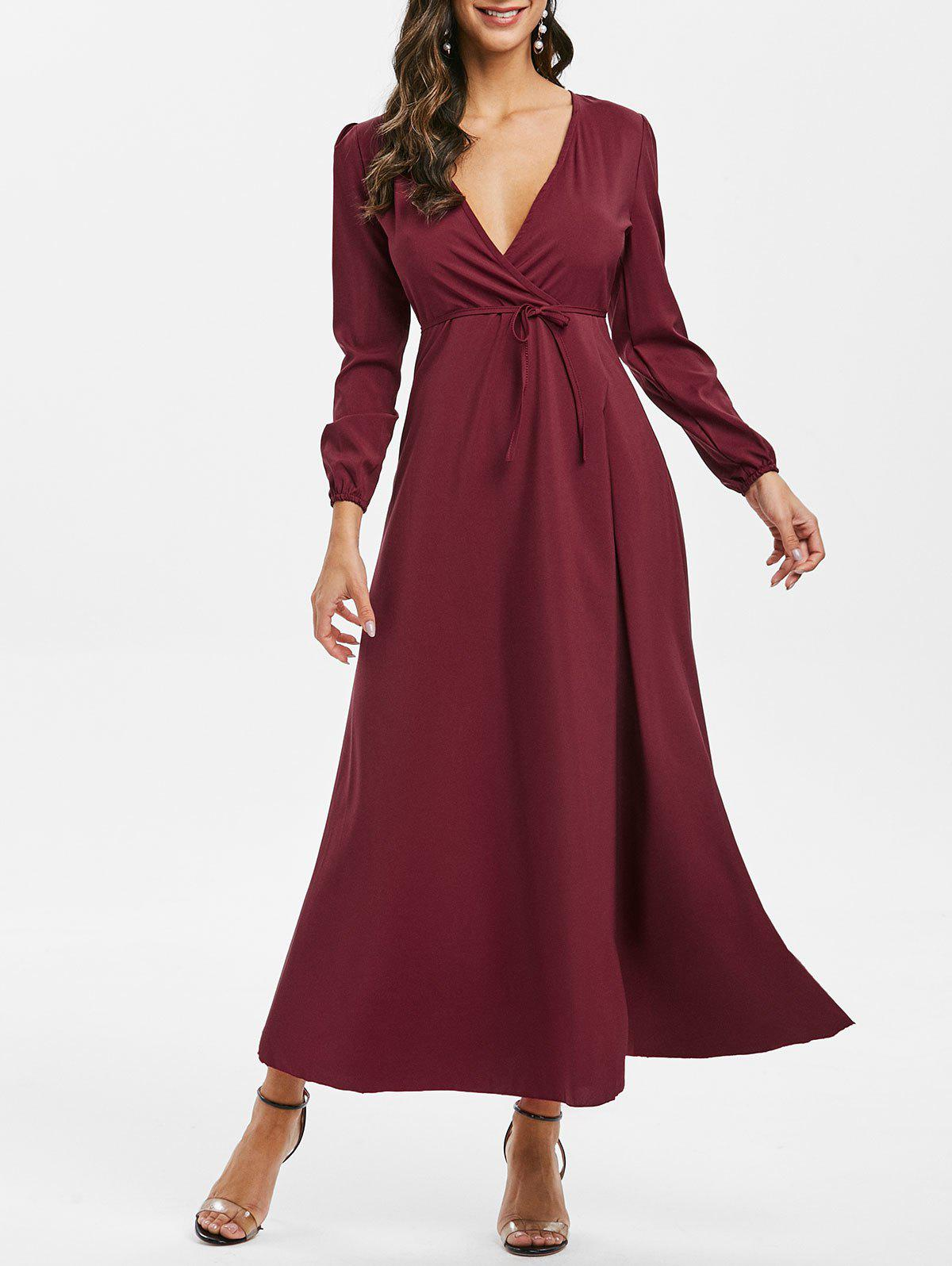 Belt Long Sleeve Maxi Surplice Dress - RED WINE S
