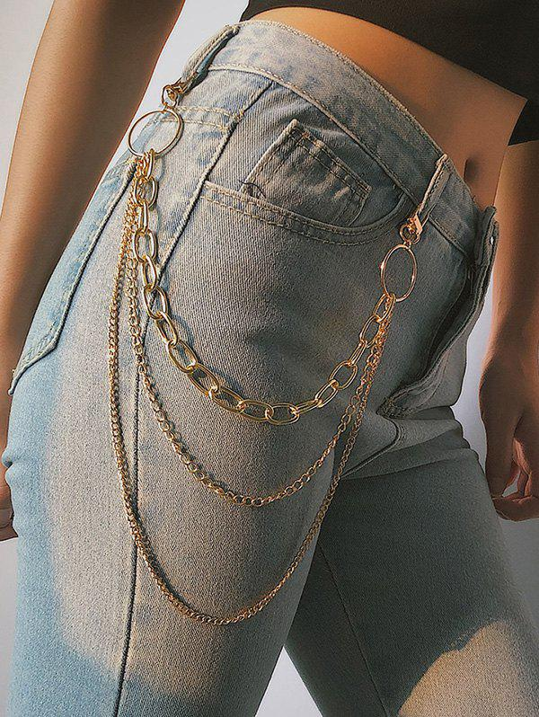 Simple Style Multilayered Keychain Belt - GOLD