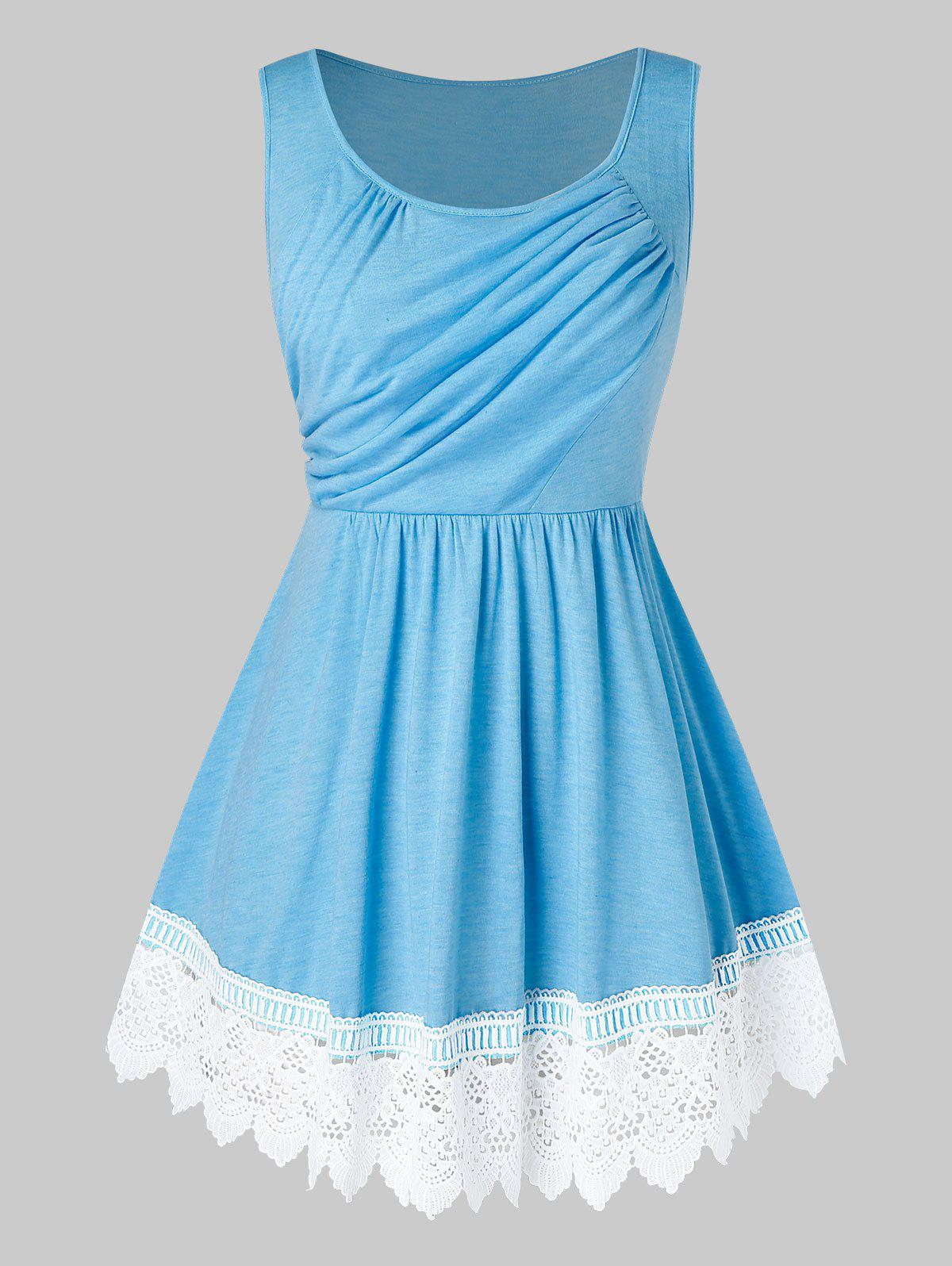 Plus Size Asymmetric Ruched Lace Insert Tank Top - DAY SKY BLUE 5X