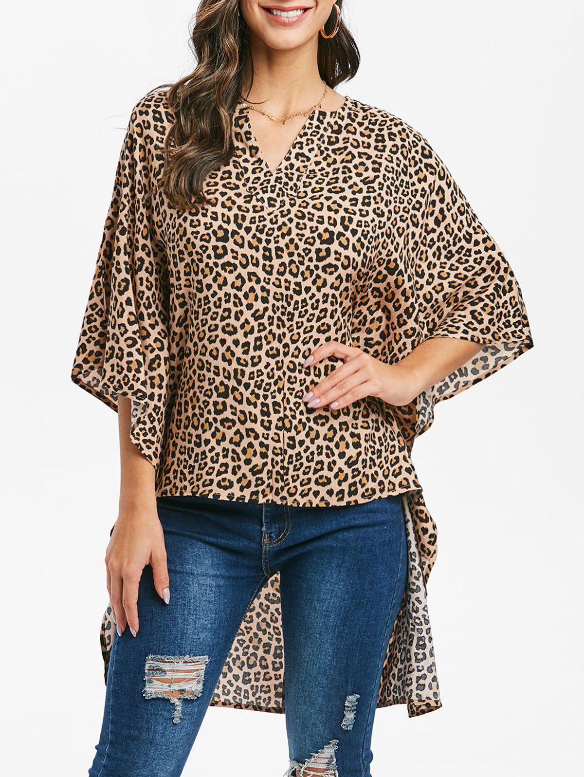 Leopard V Notched Batwing Sleeve High Low Blouse - LEOPARD S