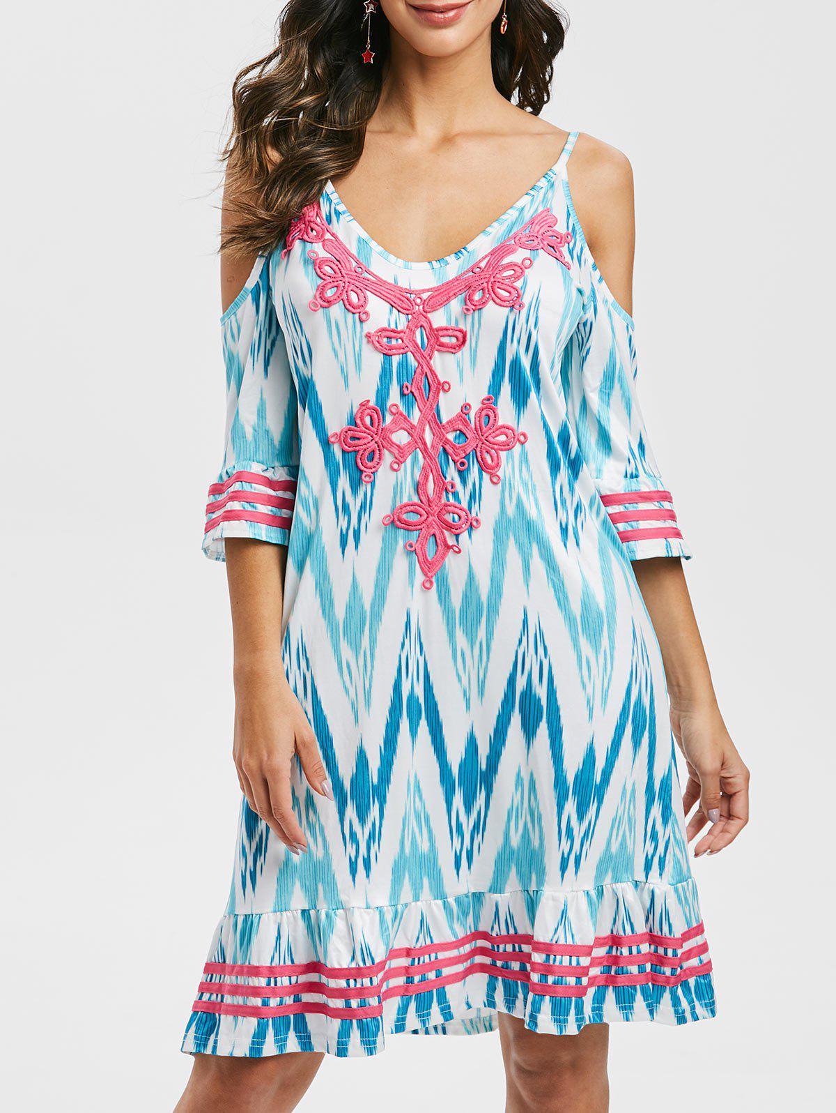 Lace Panel Printed Mini Cami Dress - TURQUOISE M
