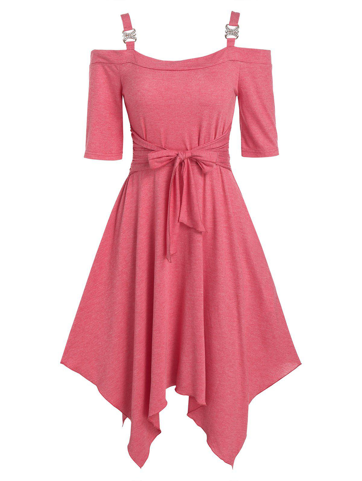 Plain Open Shoulder Bowkont Asymmetrical Dress - PINK XL