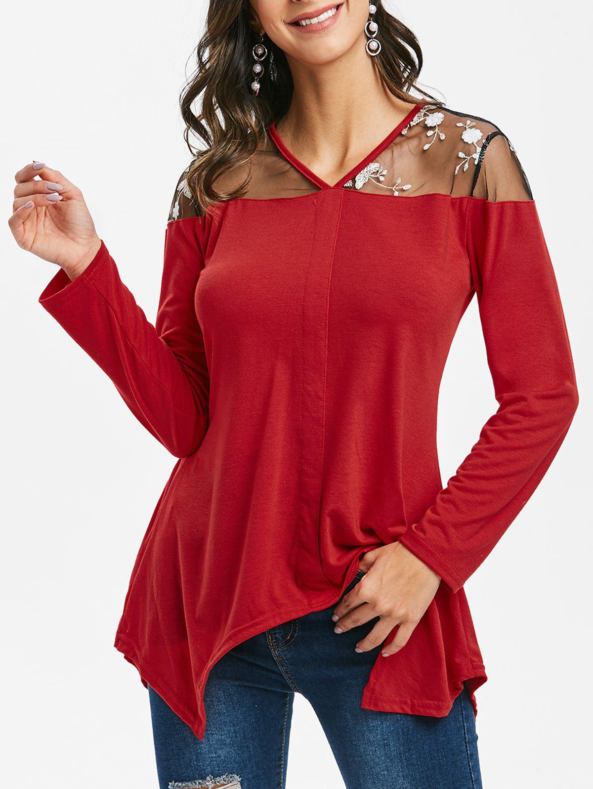 Floral Embroidered Mesh Panel Asymmetric Top - LAVA RED XL