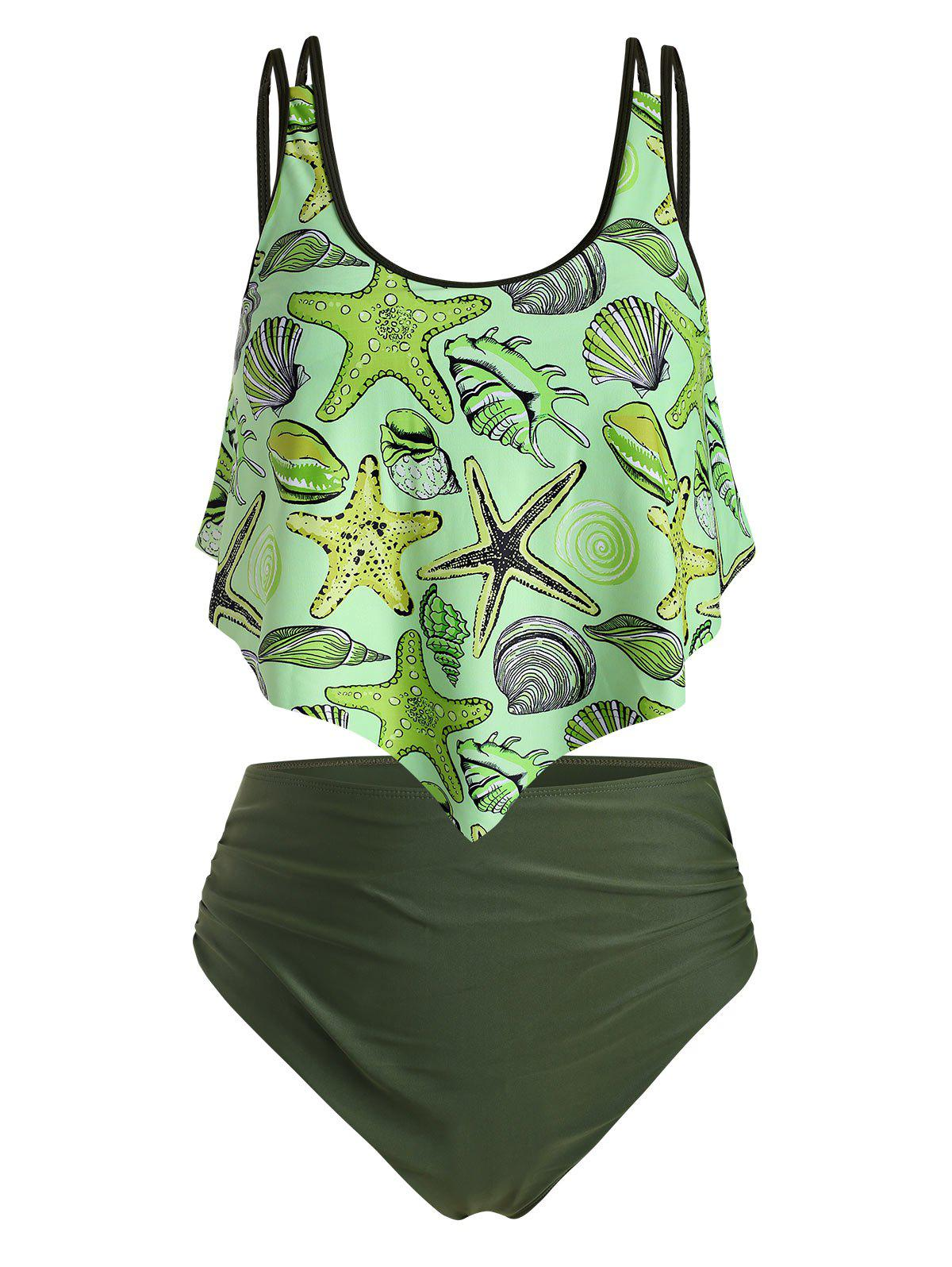 Starfish Shell Whelk Print Flounce Ruched Plus Size Tankini Swimsuit - GREEN YELLOW 5X