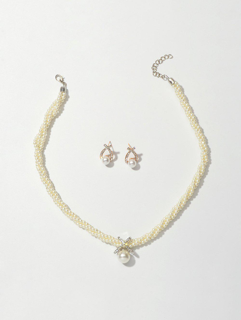 Rhinestone Artificial Pearl Necklace Stud Earrings Set - GOLD