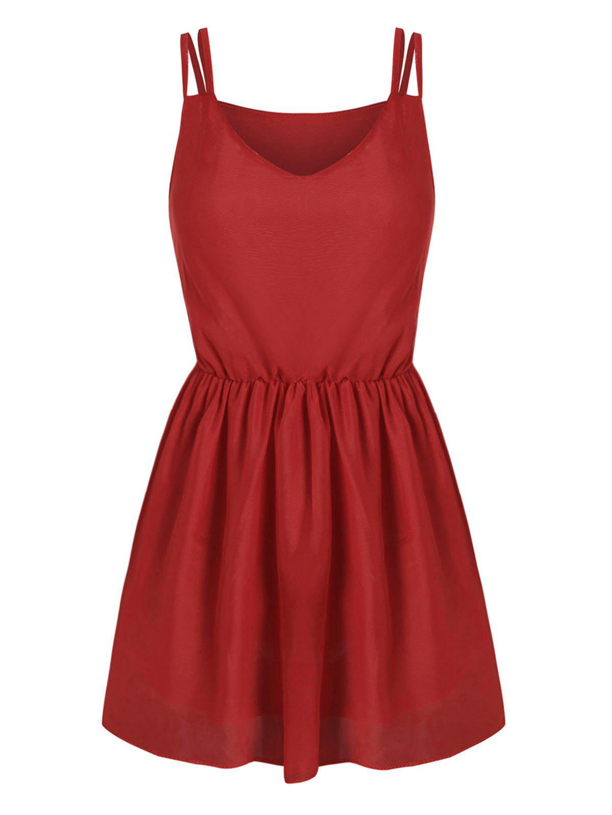 Solid Color Mini Strappy Dress - RED S