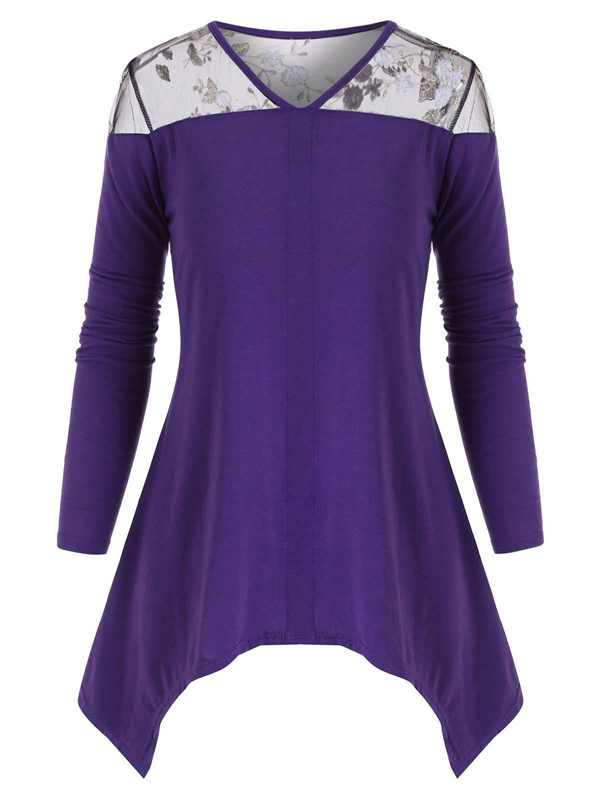 Floral Embroidered Mesh Panel Asymmetric Top - PURPLE AMETHYST L
