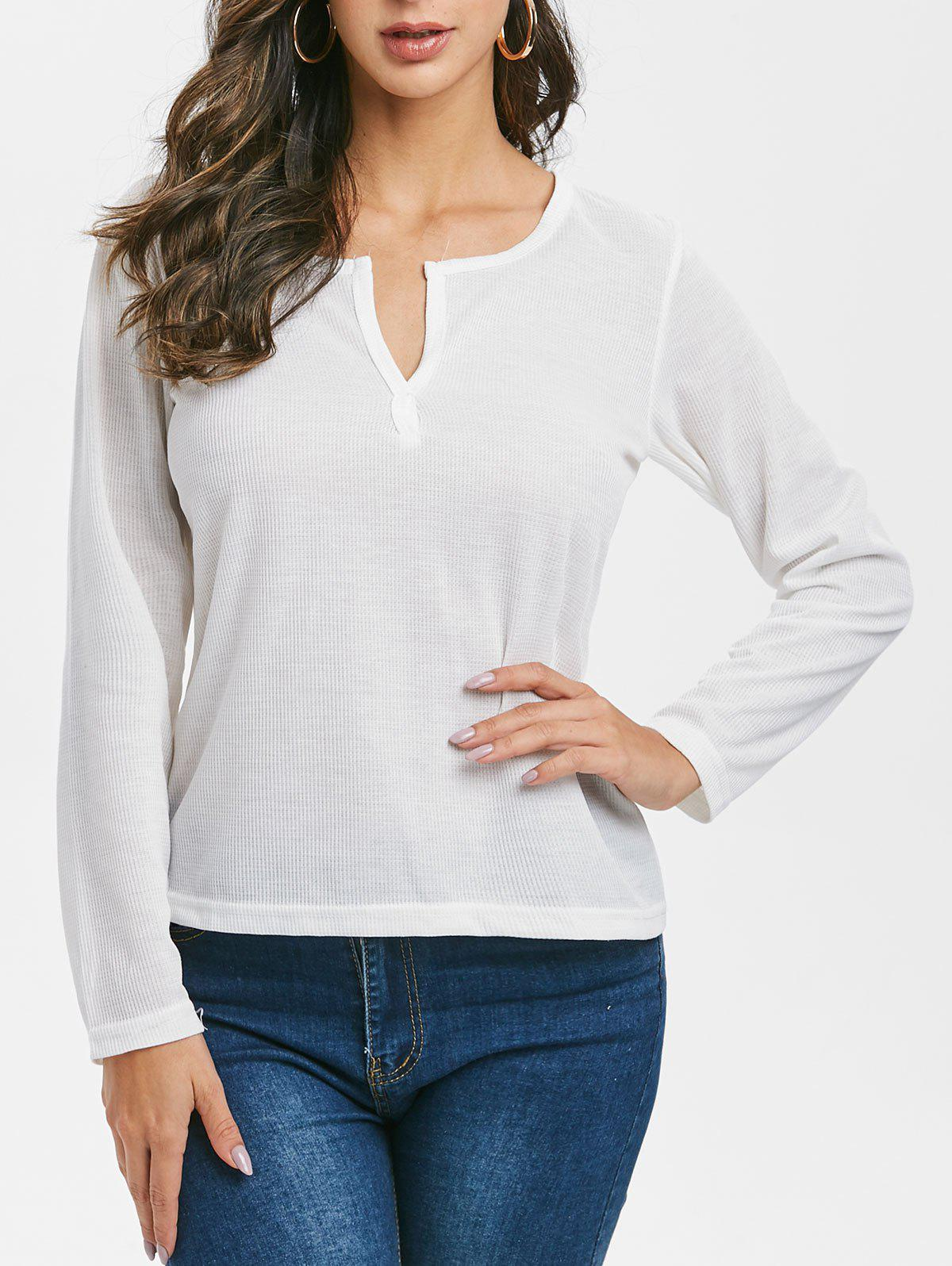 V-notch Long Sleeve Top - WHITE L