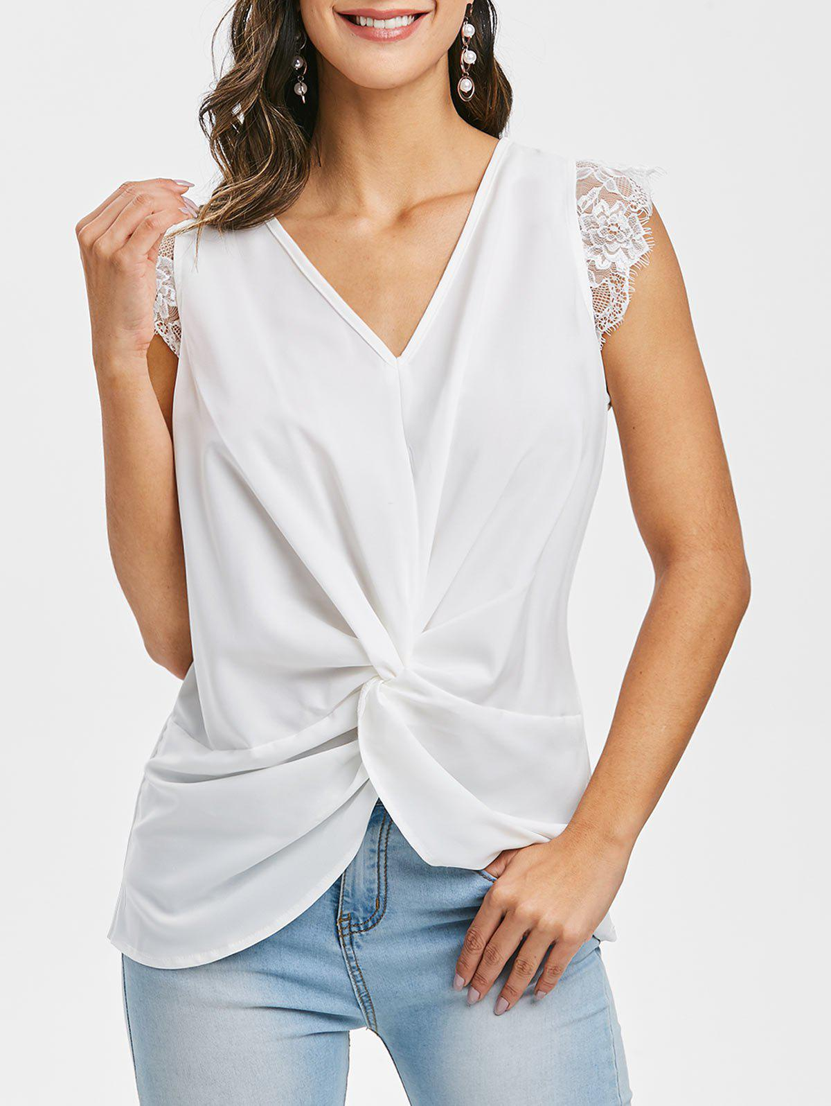Empiècements en dentelle Plongeant Twisted Tank Top - Blanc L