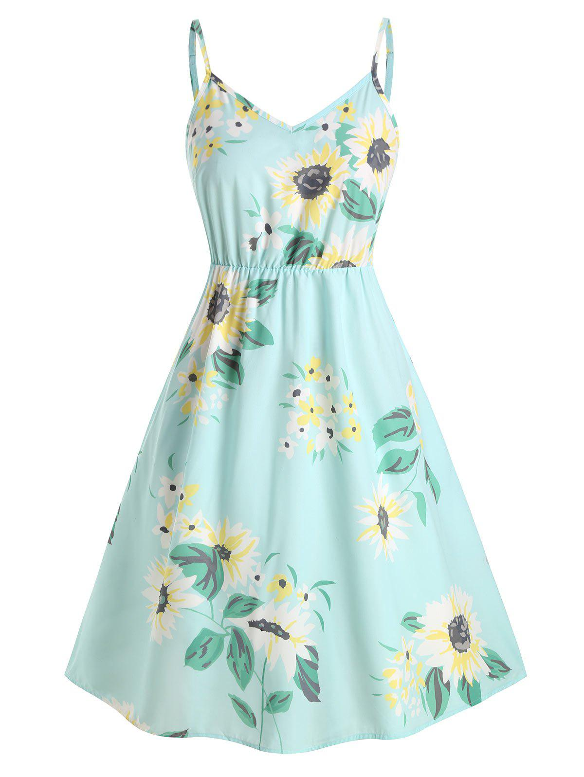 Plus Size Sunflower Print Smocked Dress - LIGHT AQUAMARINE 3X