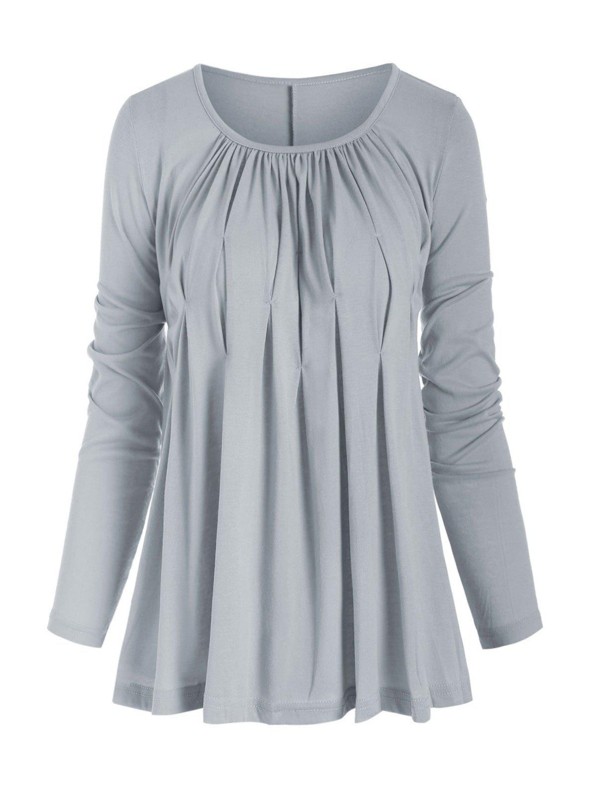 Ruched Solid Long Sleeves Tee - GRAY M