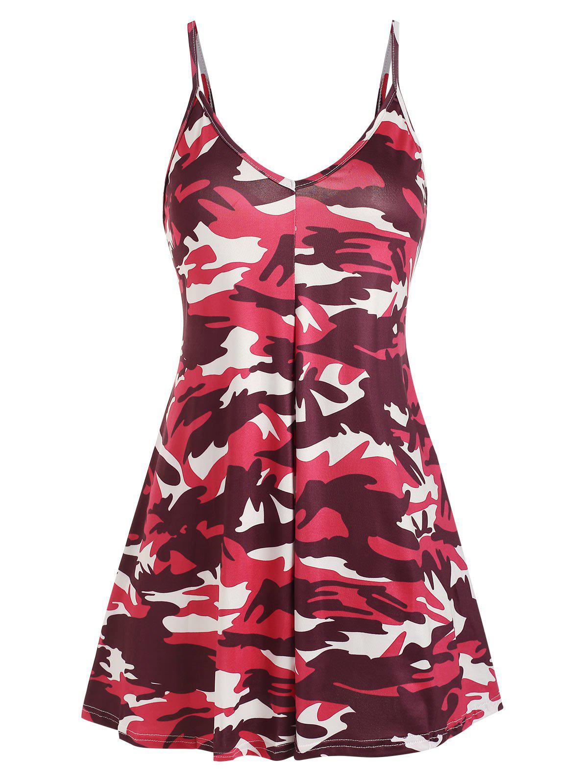 Camouflage Mini Cami Dress - RED XL