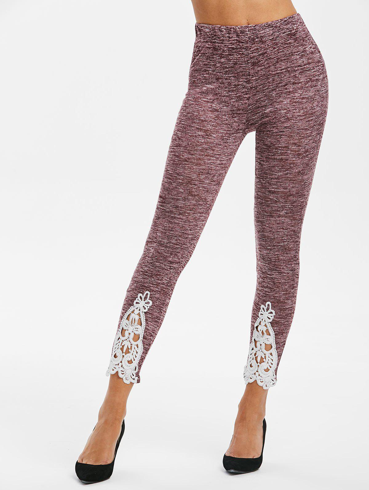 Lace Insert Heathered Skinny Leggings - VELVET MAROON M