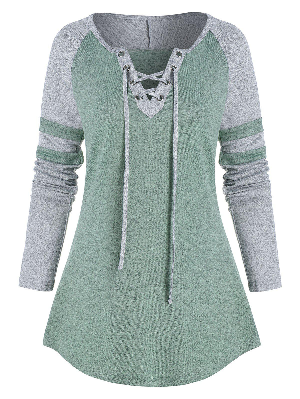 Contrast Lace-up Raglan Sleeve T-shirt - multicolor A S