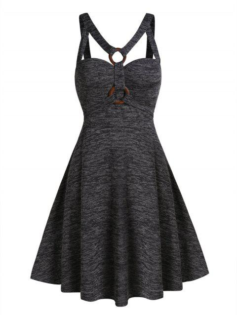 Space Dye Print O-ring Strappy Flare Dress
