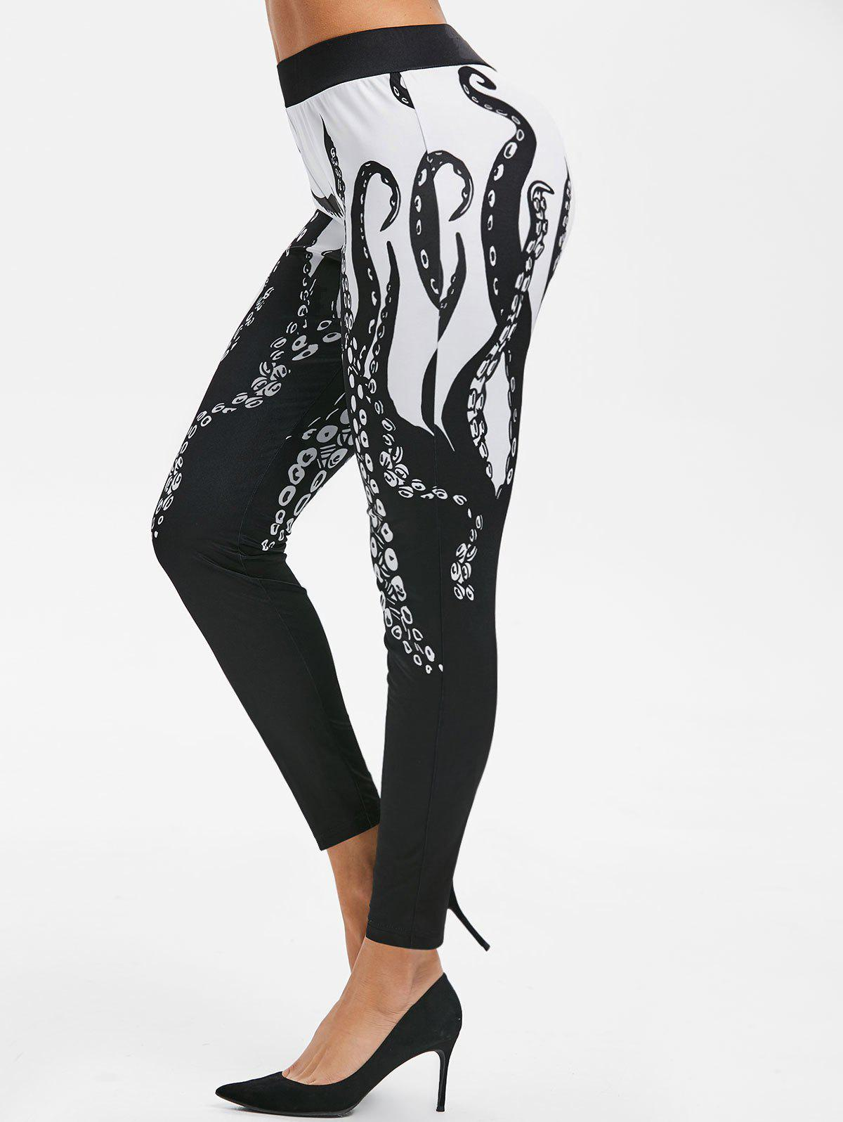 Octopus Print High Waisted Skinny Pants - BLACK 3XL