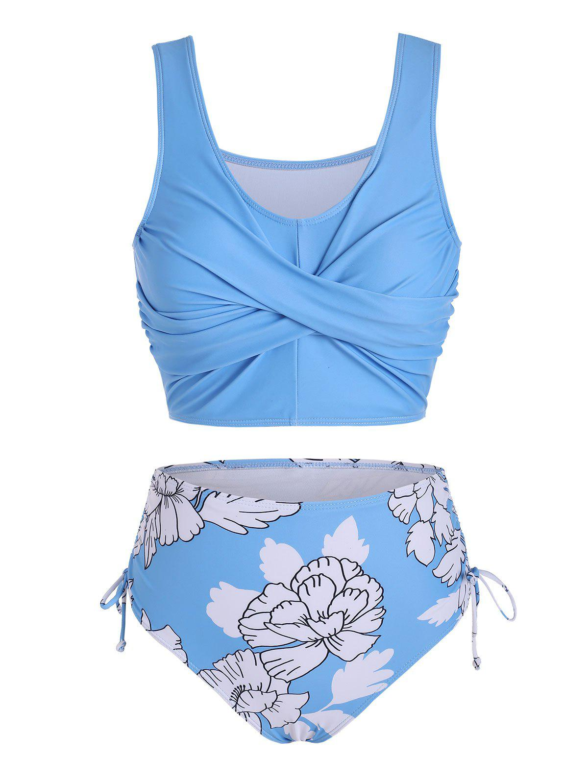 Floral Print Twist Cinched Tankini Set - LIGHT SKY BLUE M