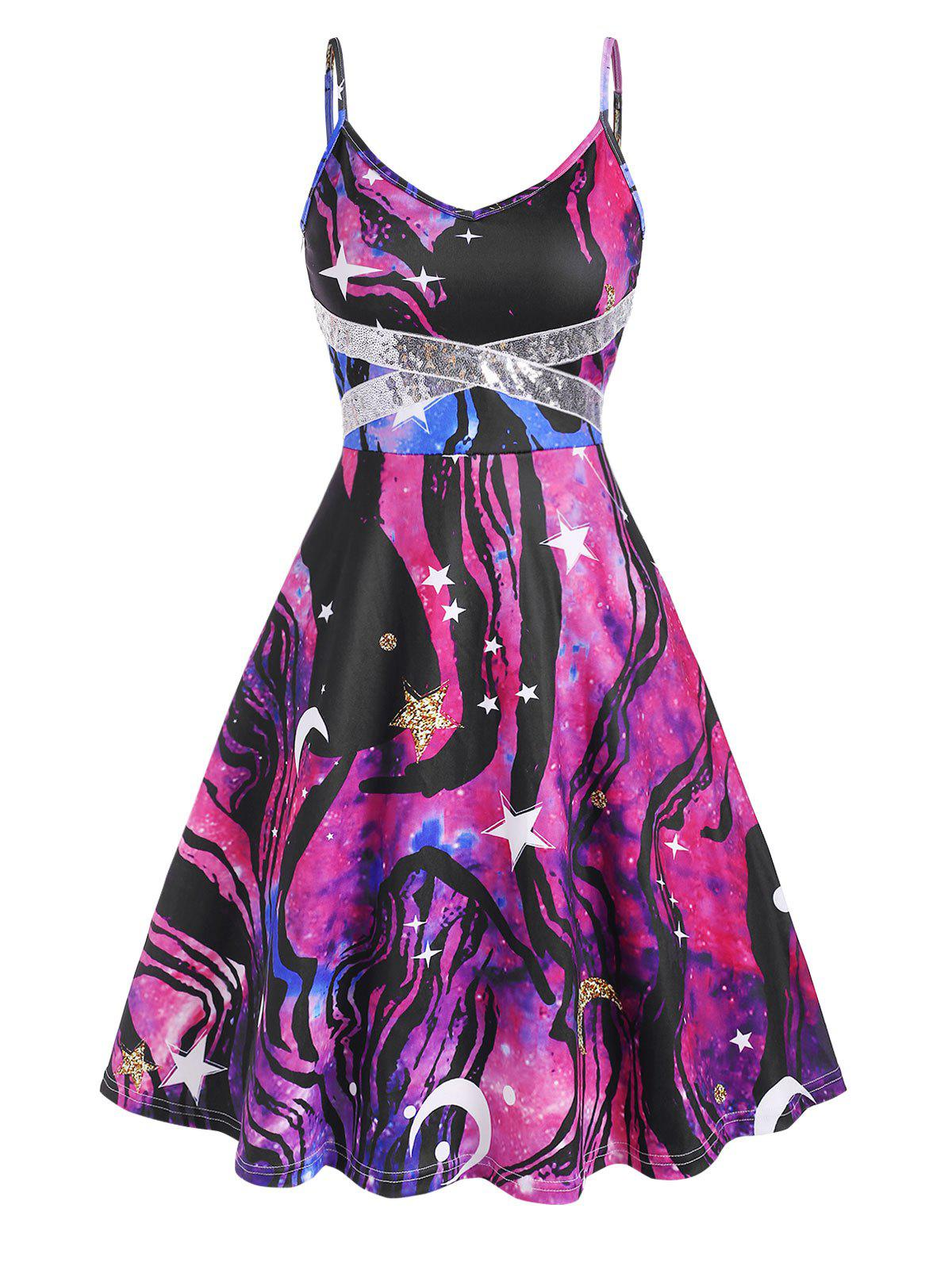 Galaxy Print Sequined Flared Cami Dress - multicolor M