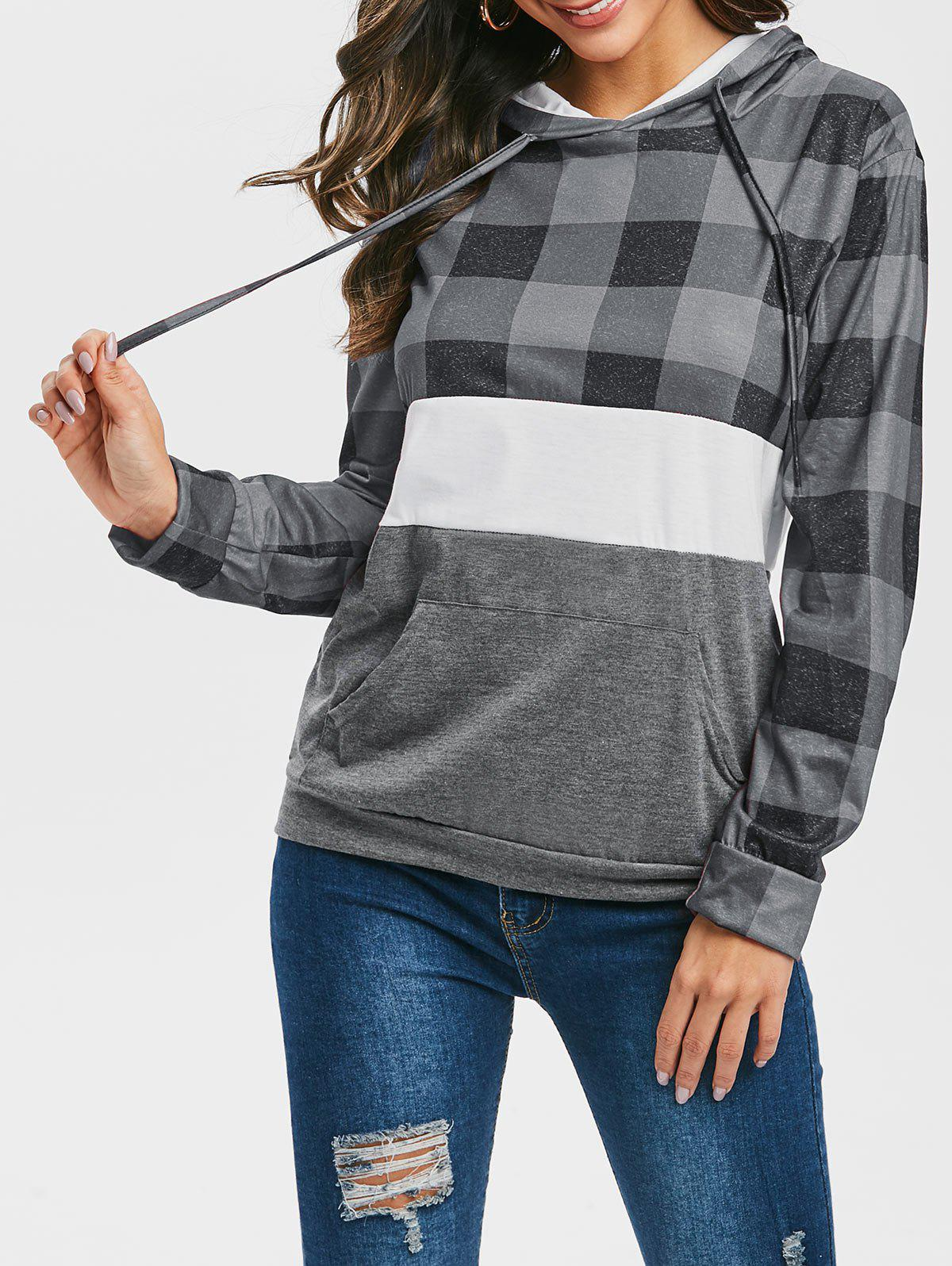 Checked Front Pocket Heathered Hoodie - GRAY S