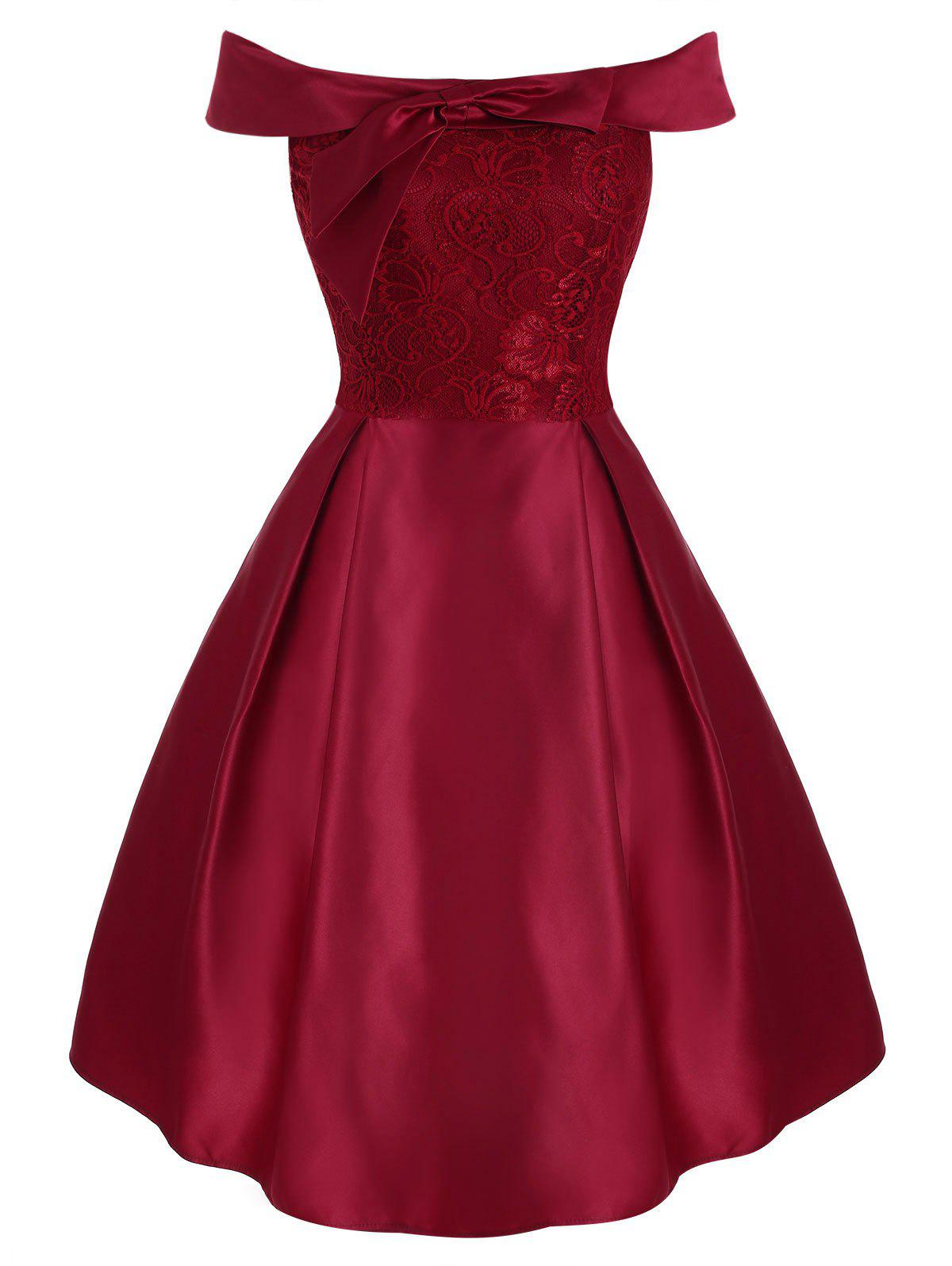 Empiècements en dentelle Encolure Foldover Party Dress - Rouge Cerise L