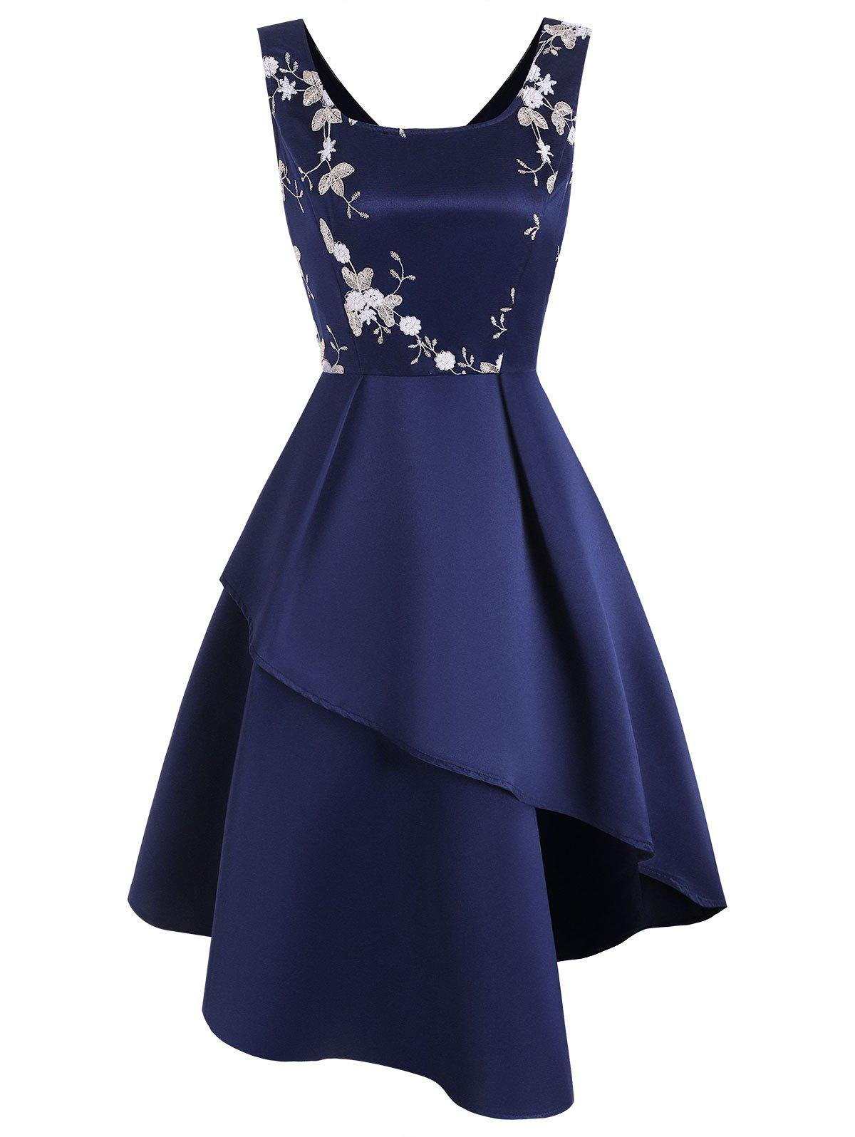 Flower Embroidered Sleeveless Asymmetrical Dress - DEEP BLUE L