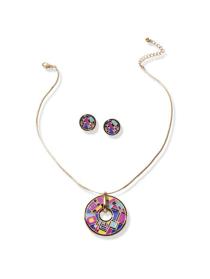 Round Oil Drop Jewelry Set - PURPLE
