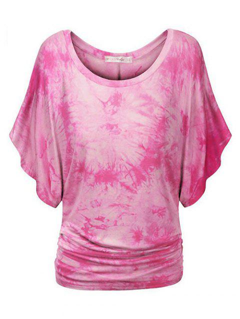 Tie Dye Ruched Batwing Sleeve Plus Size Top