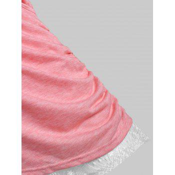 Plus Size Crossover Lace Insert T Shirt