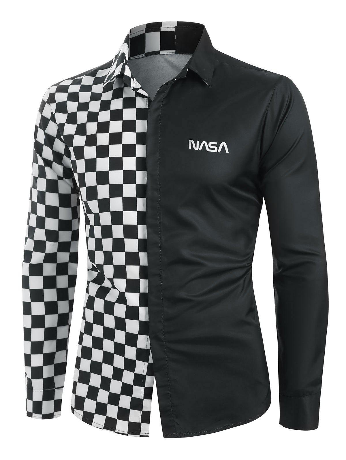 Checked Panel Letter Graphic Long Sleeve Shirt - BLACK S