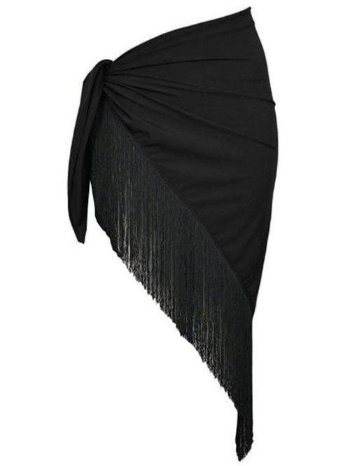 Triangular Fringed Plus Size Sarong - BLACK ONE SIZE