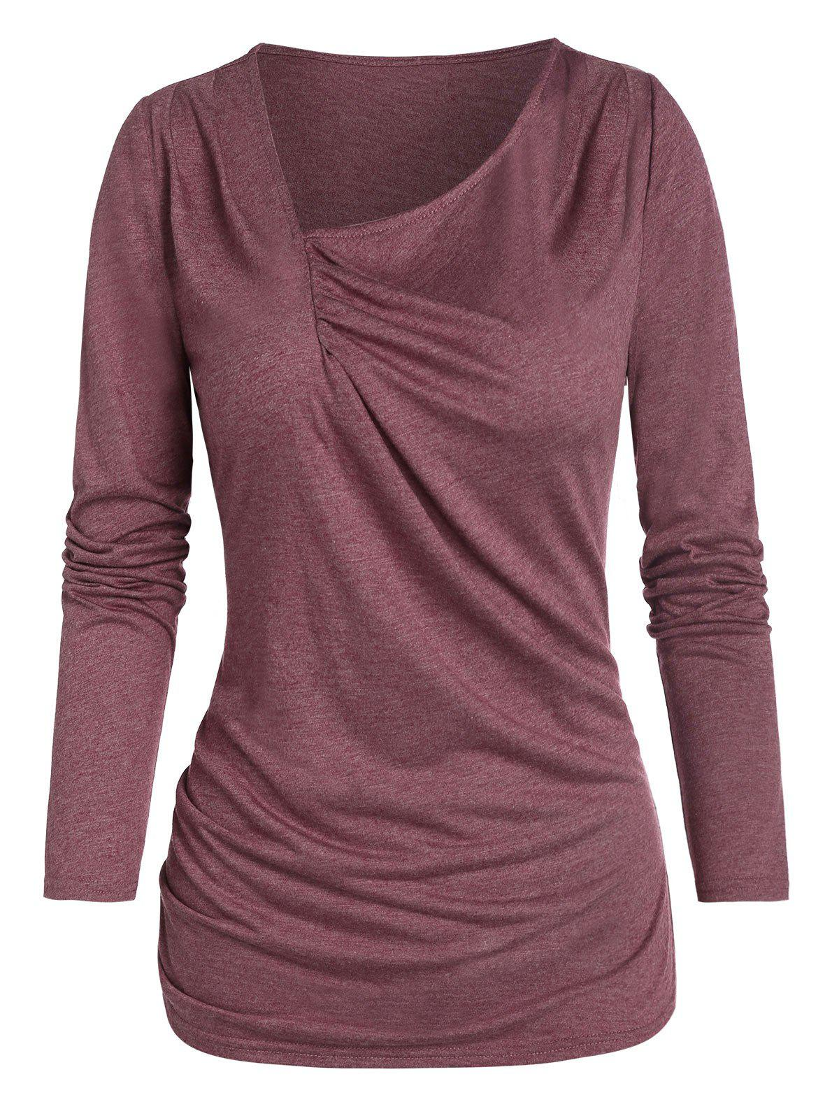 Ruched Front Long Sleeve Marled T-shirt - FIREBRICK XL