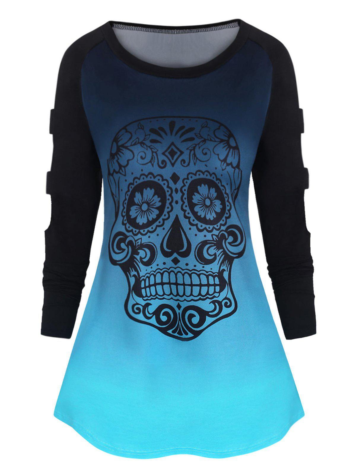 Plus Size Ladder Cut Ombre Color  Skull Print TShirt - BLUE ZIRCON 1X