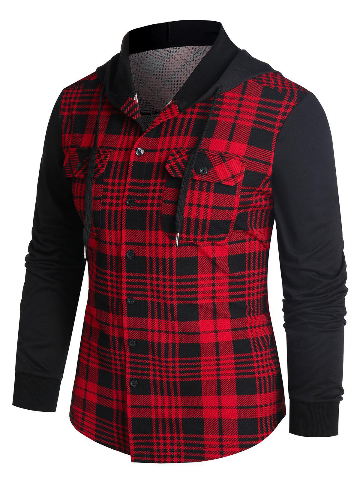 Hooded Plaid Print Double Pockets Button Up Shirt - RED 2XL