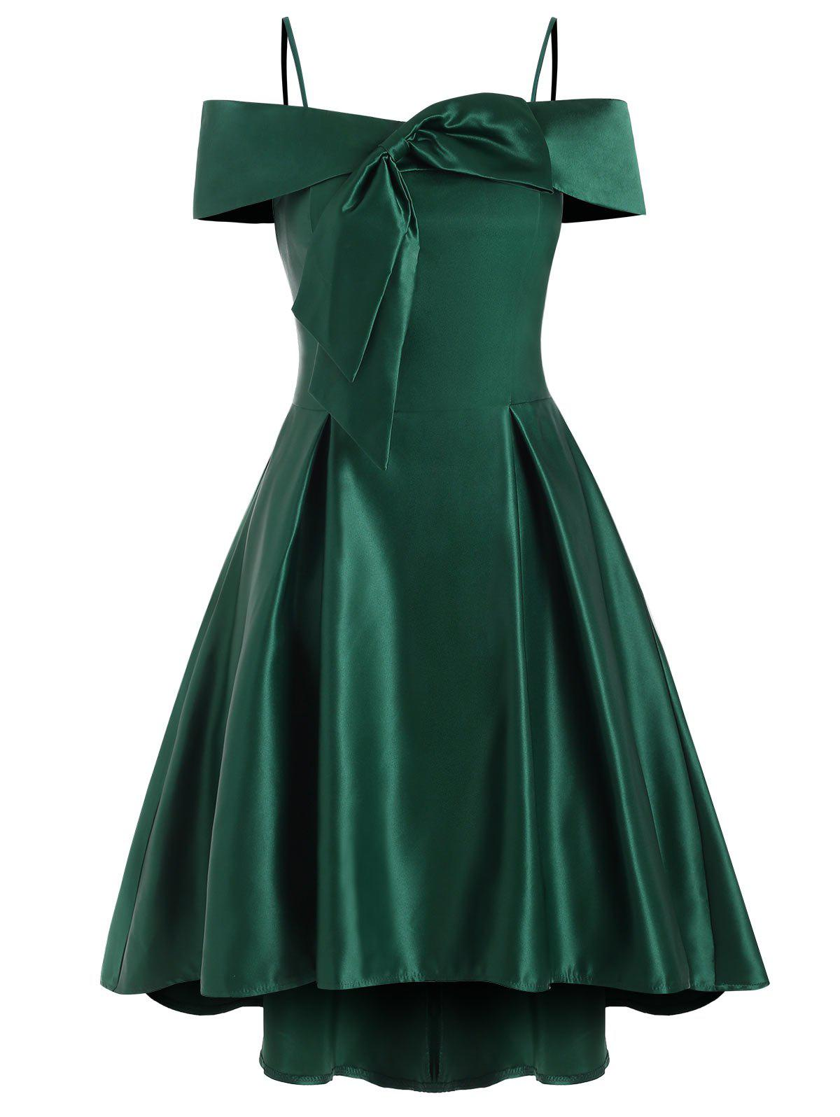Cold Shoulder Cami Bowknot High Low Party Dress - MEDIUM FOREST GREEN L