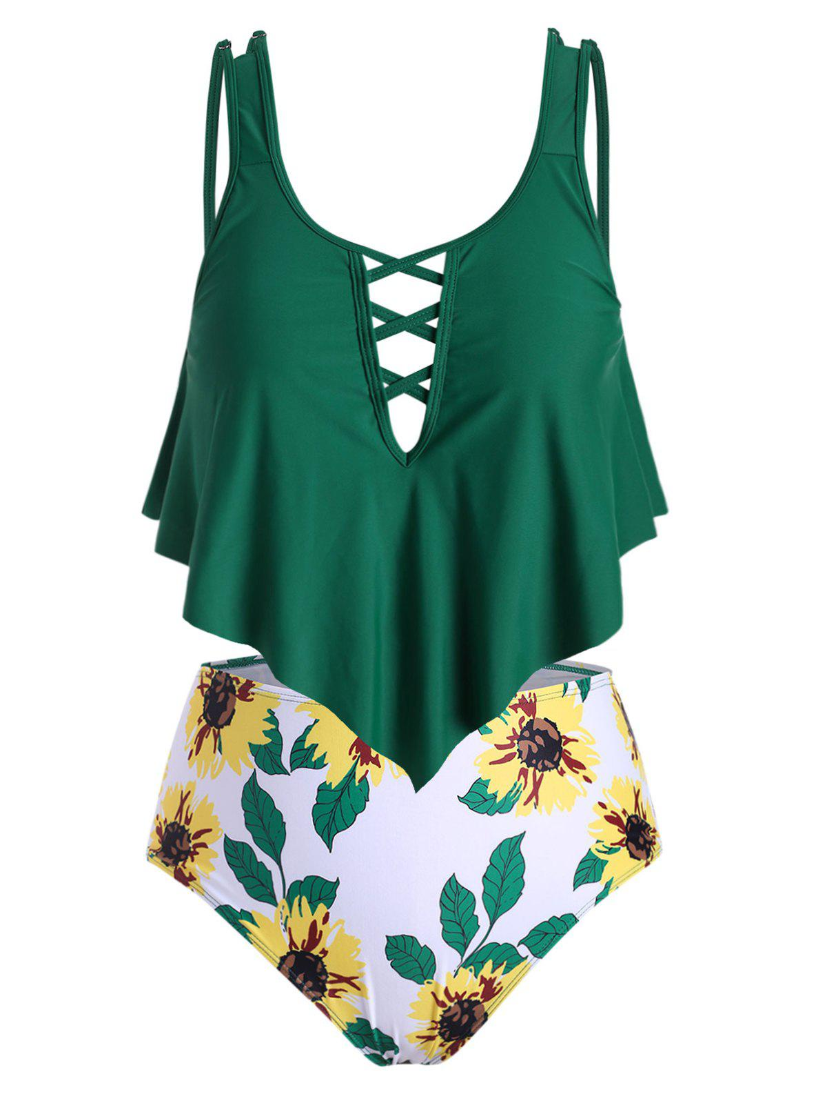 Plus Size Crisscross Overlay Sunflower Print Tankini Swimsuit - DEEP GREEN 5X