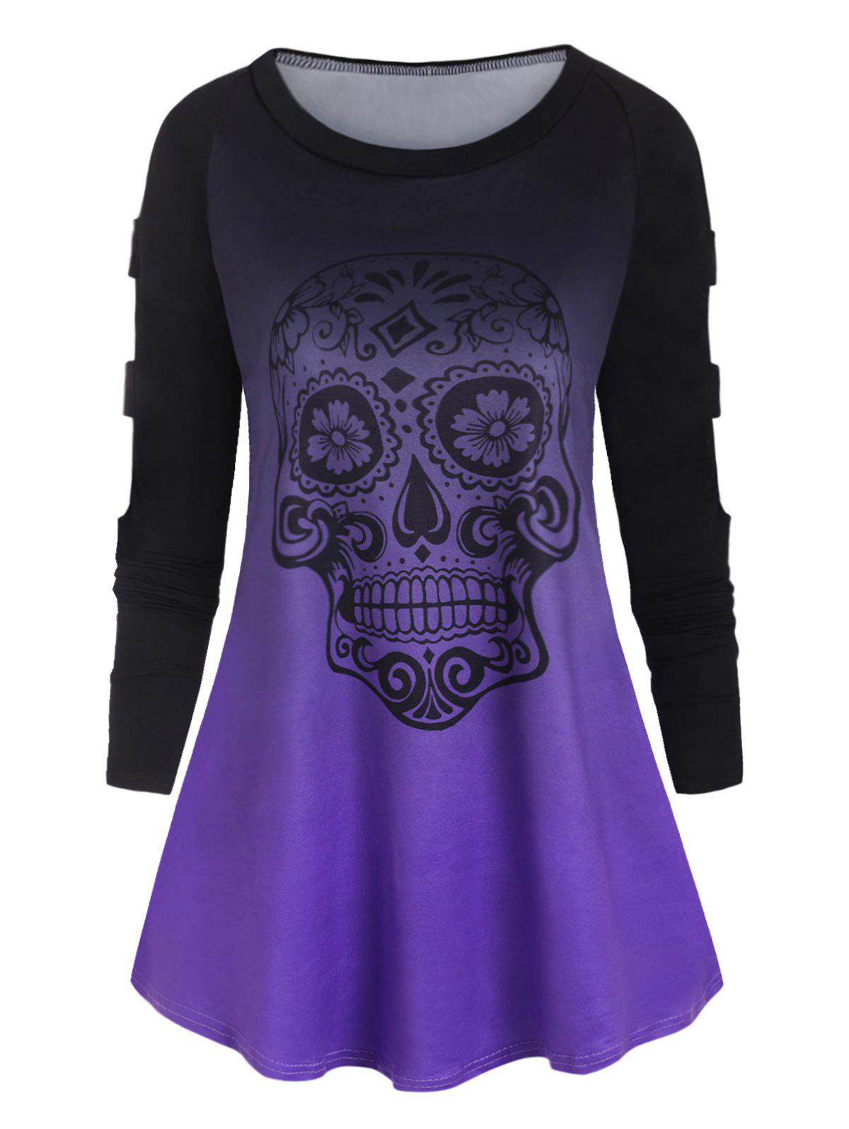 Plus Size Ladder Cut Ombre Color  Skull Print TShirt - PURPLE 1X
