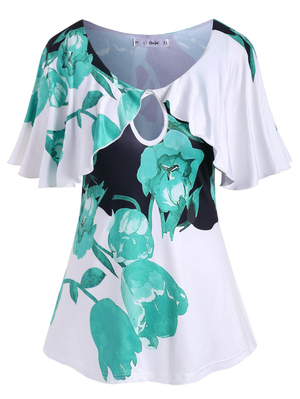 Plus Size Flutter Sleeve Keyhole Floral Print T Shirt - LIGHT SEA GREEN 2X