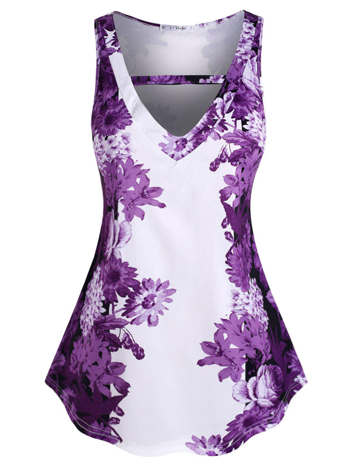 Plus Size Sleeveless Floral Print Tunic Top - DARK ORCHID 3X