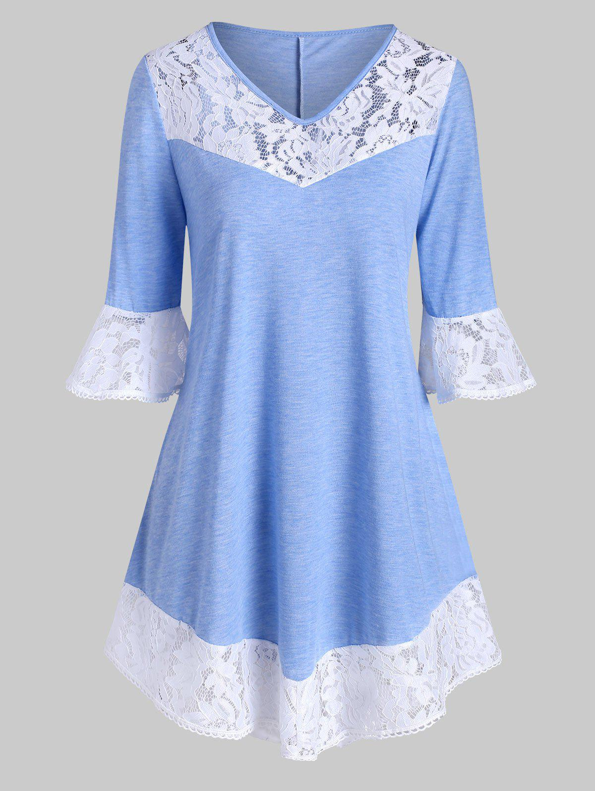 V Neck Lace Panel Plus Size Top - Bleu Toile de Jean 5X