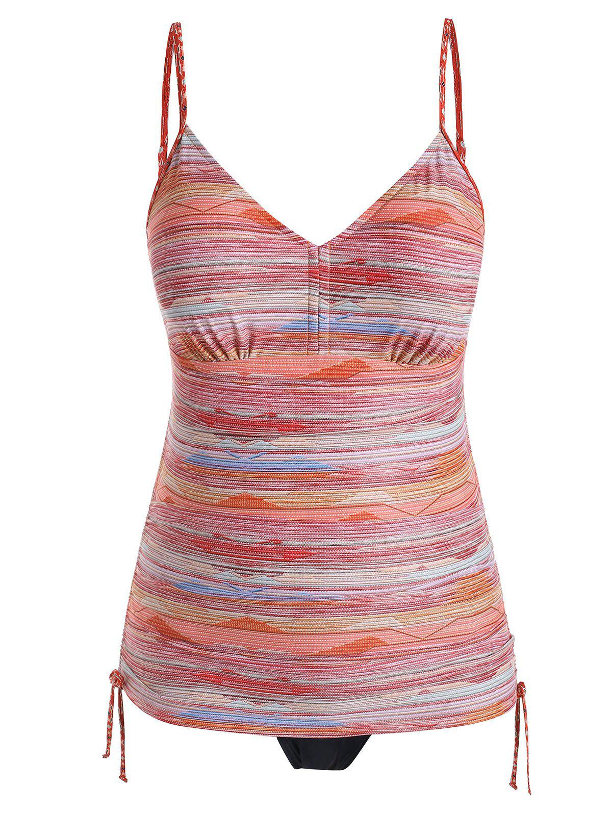 Cinched Ruched Striped Plus Size Tankini Swimsuit - ORANGE L