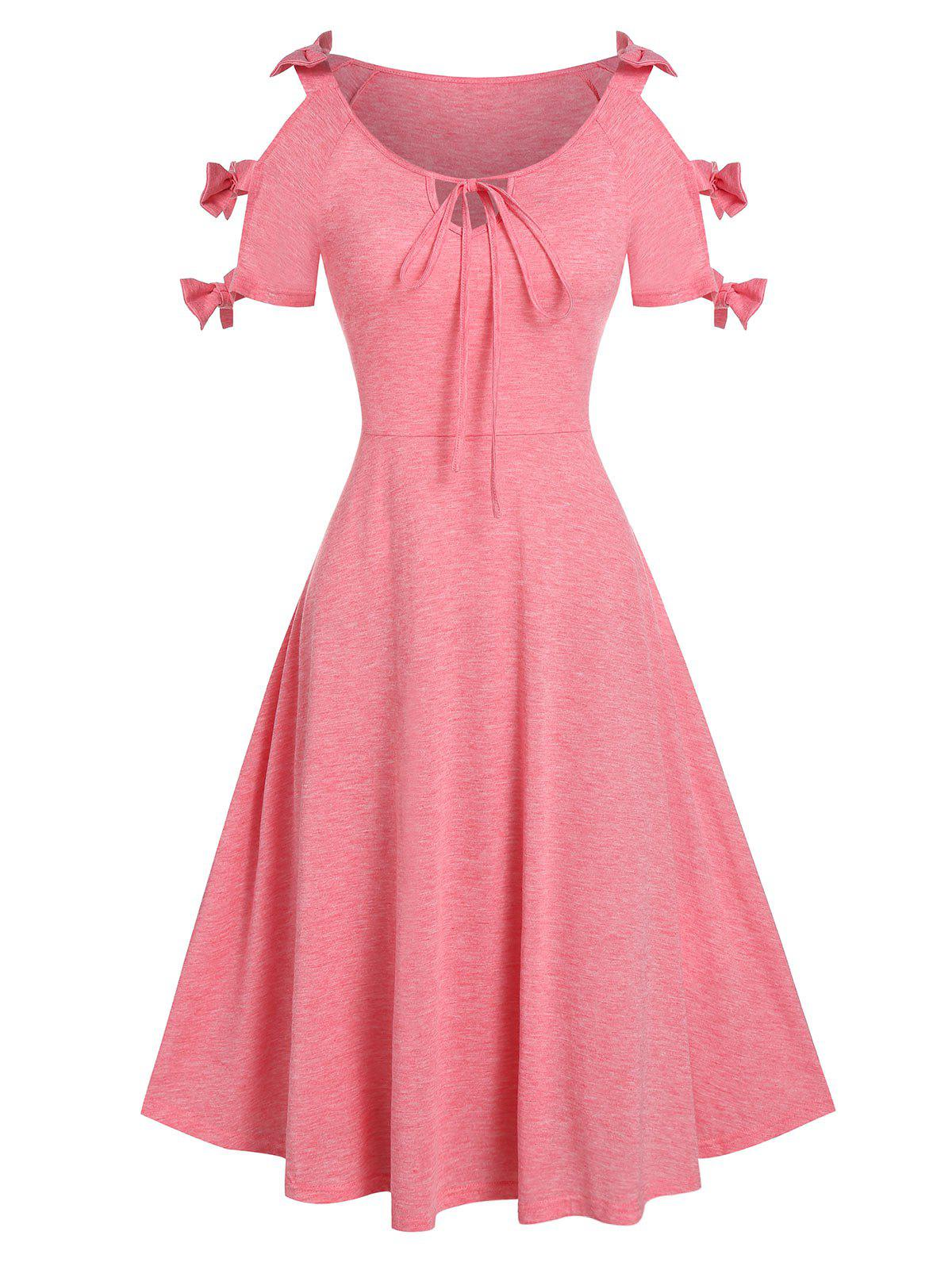 Bowknot Cutout Knee Length Dress - FLAMINGO PINK 3XL
